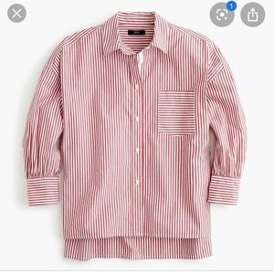 JCrew red stripe button-up - NWT - oversized - med